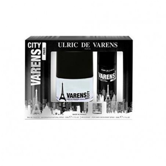 ULRIC DE VARENS COFFRET CITY PARIS POUR HOMME 50ML NATURAL SPRAY & 50ML DEODORANT