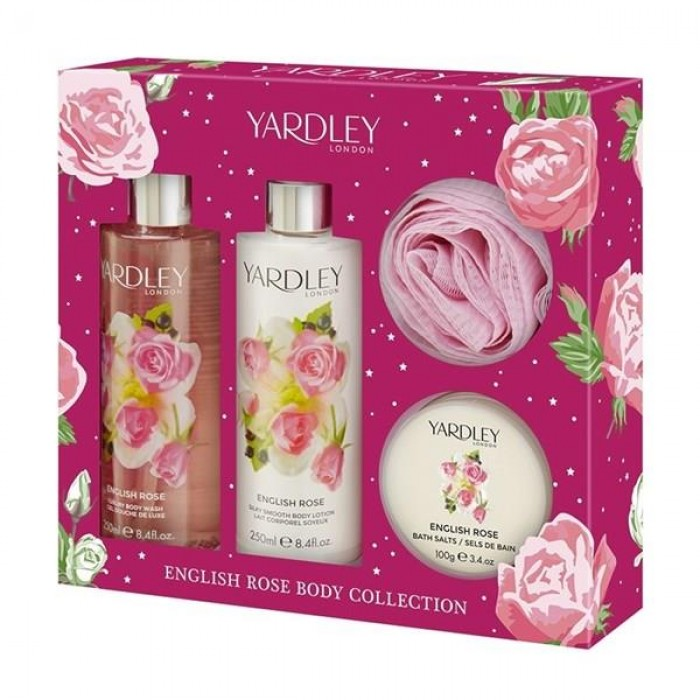 YARDLEY ENGLISH ROSE BATH & BODY COLLECTION INCL. BODY LOTION BODY WASH & BATH SALTS