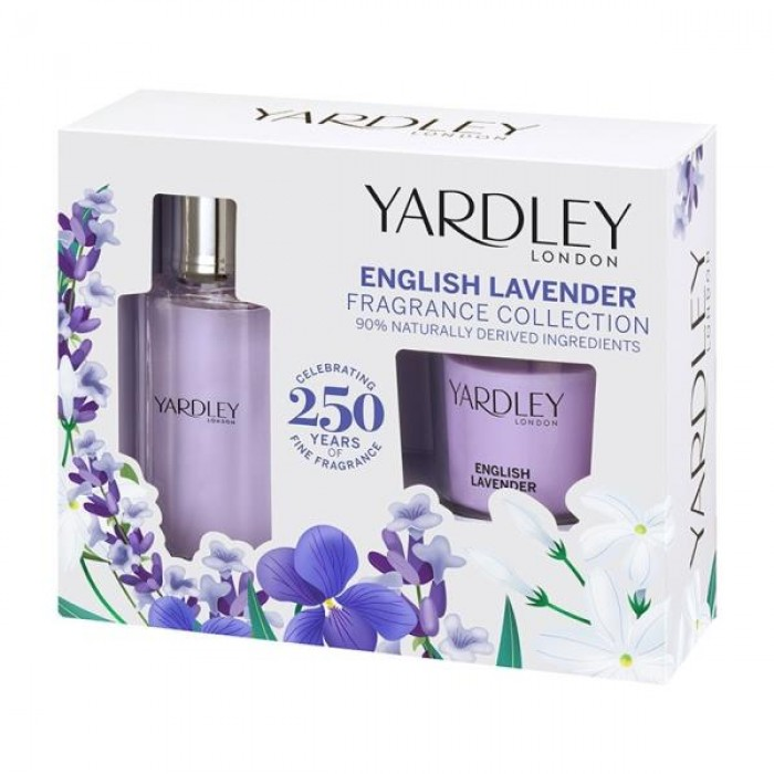 YARDLEY ENGLISH LAVENDER GIFT SET INCL 50ML EDT & FRAGRANCED CANDLE