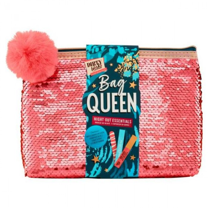 DIRTY WORKS BAG QUEEN NIGHT OUT ESSENTIALS GIFT SET INCL LIPSTICK BODY SPRAY & NAIL FILE